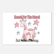 1st Birthday Giraffe Pink Postcards (Package of 8)