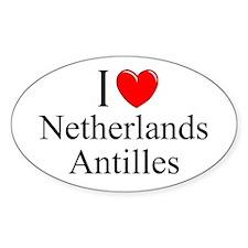 """""""I Love Netherlands Antilles"""" Oval Decal"""