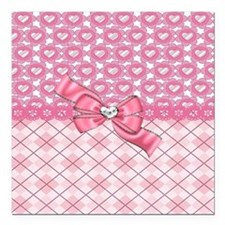 "Pink Argyle Hearts Square Car Magnet 3"" x 3"""
