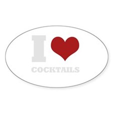 i love cocktails Oval Decal