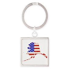 Alaska Flag Square Keychain