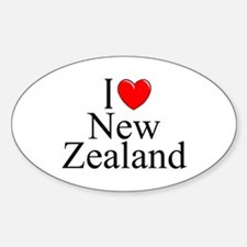 """I Love New Zealand"" Oval Decal"