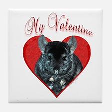 Chinchilla Valentine Tile Coaster