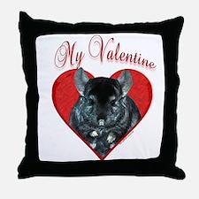 Chinchilla Valentine Throw Pillow