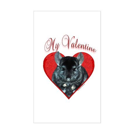 Chinchilla Valentine Rectangle Sticker