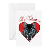 Chinchilla valentine Greeting Cards (10 Pack)