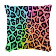 Rainbow Leopard Print Woven Throw Pillow