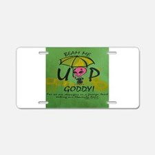 Beam Me Up Goddy! Aluminum License Plate