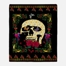 Hippie Era Skull Throw Blanket