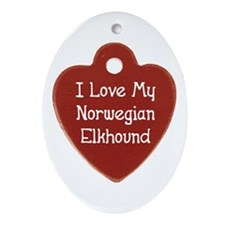 Elkhound Tag Oval Ornament