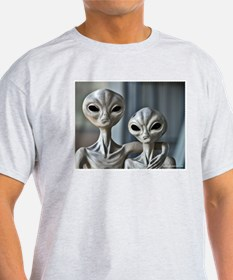 Alien Couple - Ash Grey T-Shirt