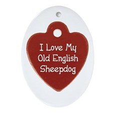 Sheepdog Tag Oval Ornament