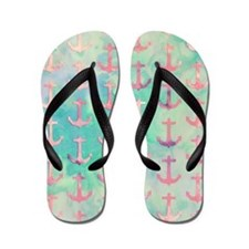 Girly Pink Nautical Anchors Turquoise W Flip Flops