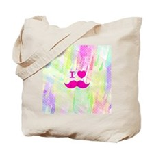 Bright Funny I heart Mustache Watercolor  Tote Bag