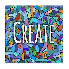 Create - inspiring words Tile Coaster