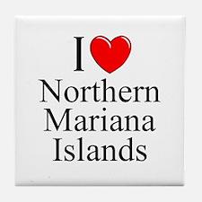 """I Love Northern Mariana Islands"" Tile Coaster"