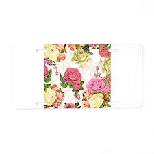 Rose flower pattern Aluminum License Plate