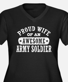 Proud Army Wife Women's Plus Size V-Neck Dark T-Sh