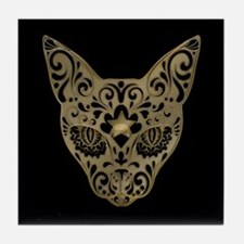 Golden Egyptian style mystical cat Tile Coaster