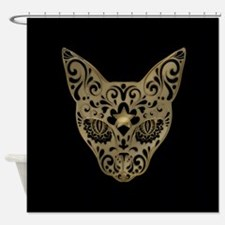 Golden Egyptian style mystical cat Shower Curtain
