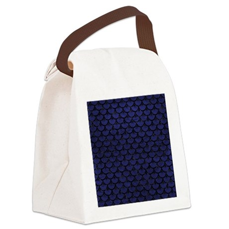 SCALES3 BLACK MARBLE & BLUE LEATH Canvas Lunch Bag
