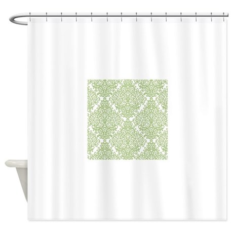 Green And White Diamond Damask Shower Curtain By Admin Cp49789583
