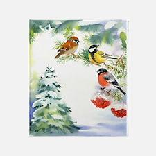 Watercolor Winter Birds Blanket