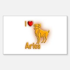 I Love Aries Rectangle Decal