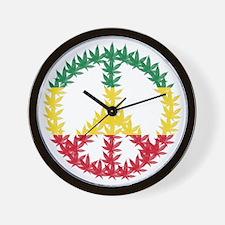 Rastafari Cannabis Peace Symbol Wall Clock