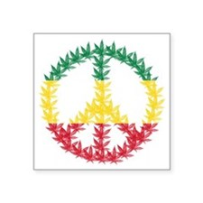 "Rastafari Cannabis Peace Sy Square Sticker 3"" x 3"""