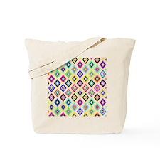 Bright Pink Teal Ethnic Ikat Diamonds Pat Tote Bag