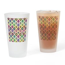Bright Pink Teal Ethnic Ikat Diamon Drinking Glass