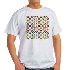 Bright Pink Teal Ethnic Ikat Diamond T-Shirt
