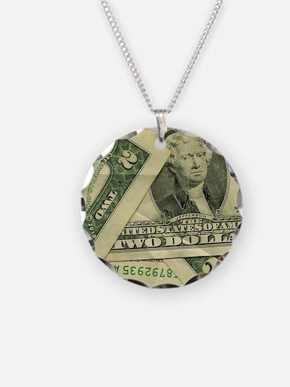 tw-dollar-bill-button Necklace Circle Charm