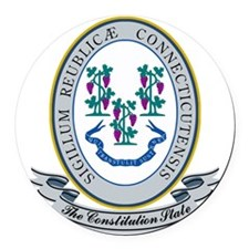 Connecticut Seal Round Car Magnet