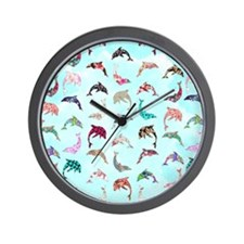 Girly Whimsical Dolphins Floral Pattern Wall Clock