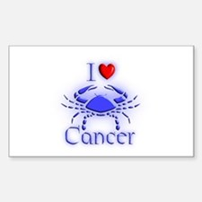 I Love Cancer Rectangle Decal