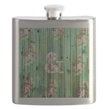 Vintage Floral Ampersand Turquoise Beach Woo Flask