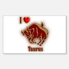 I Love Taurus Rectangle Decal