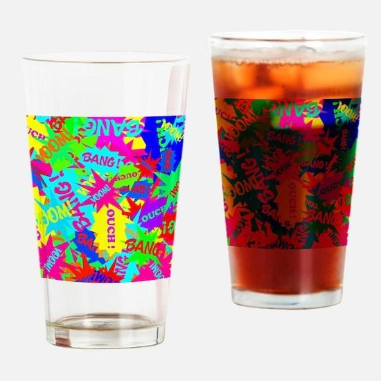 Trendy Superhero Comic Bubble Speec Drinking Glass