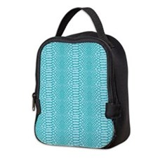 Blue Snake Skin Neoprene Lunch Bag