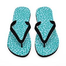 Blue Cheetah Print Flip Flops