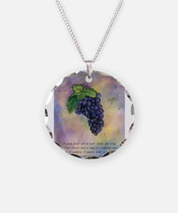 Pinot Noir Red Wine Grapes Art Necklace