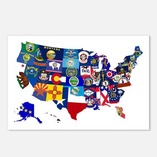 USA State Flags Map Postcards (Package of 8)