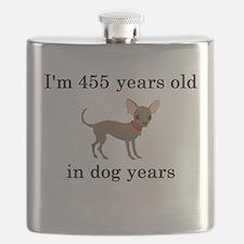 65 birthday dog years chihuahua Flask