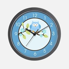Blue Owl on a Branch Wall Clock