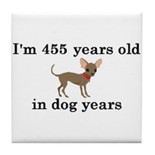 65 birthday dog years chihuahua 2 Tile Coaster