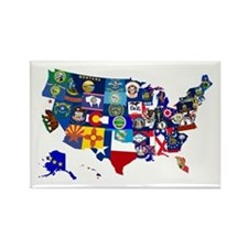 USA State Flags Map Magnets
