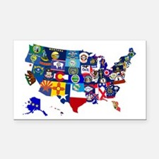 USA State Flags Map Rectangle Car Magnet