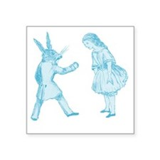 "Alice and the White Rabbit Square Sticker 3"" x 3"""